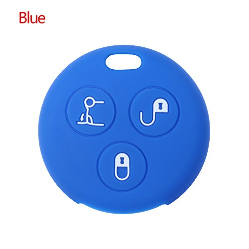 Practical 3 Button Silicone Car Key Case Cover Fits for Benz Smart City Roadster (Blue) ()
