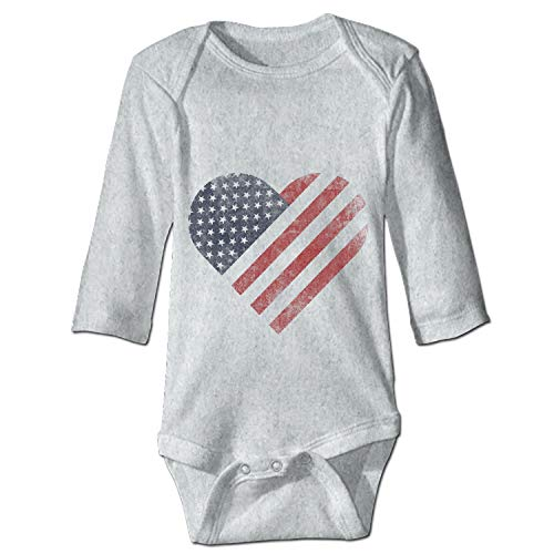 (YSKHDBC Distressed Patriotic Heart Baby Infant Toddler Bodysuit One)