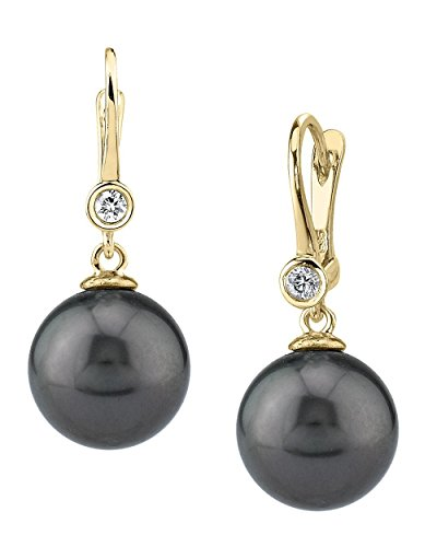 THE PEARL SOURCE 14K Gold 12-13mm Round Black Tahitian South Sea Cultured Pearl & Diamond Michelle Earrings for Women