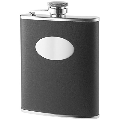 6 Oz Bonded Black Leather Wrapped w/ Oval Convex Stainless Steel Flask & Gift Box Perfect Gift For Him / Her ()