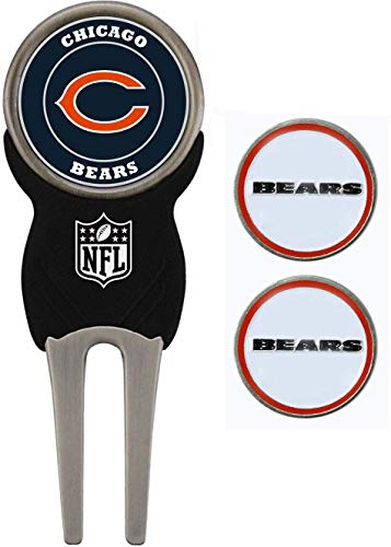 Team Golf NFL Chicago Bears Divot Tool with 3 Golf Ball Markers Pack, Markers are Removable Magnetic Double-Sided Enamel