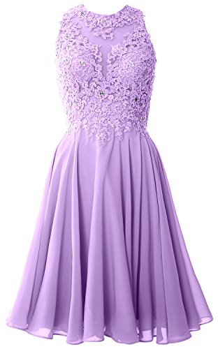 MACloth Women High Neck Lace Cocktail Dress Short Prom Homecoming Formal Gown Lavanda