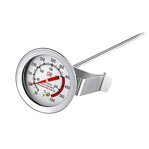 BOHK Handy 5 Inch Probe Deep Fry Meat Turkey Thermometer With 2 Inch Dial Stainless Steel For BBQ Grill Pot Pan Kettle 50℉-550℉(1 Piece) (Oil Thermometer Frying)