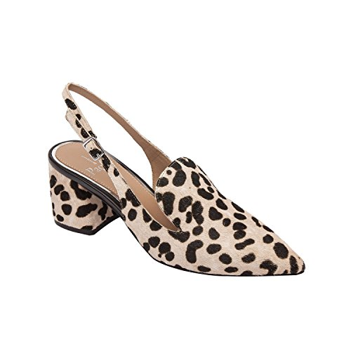Linea Paolo Carly | Women's Pointy Toe Block Heel Leather Slingback White/Black Leopard Print Hair Calf 10M