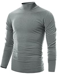 Mens Slim Fit Soft Cotton Pullover Light Mock Neck