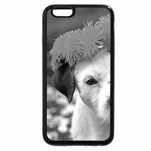 iPhone 6S Plus Case, iPhone 6 Plus Case (Black & White) - Dog with a wreath