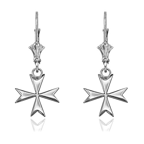 Sterling Silver Maltese Cross Earrings (Silver Sterling Maltese Cross)