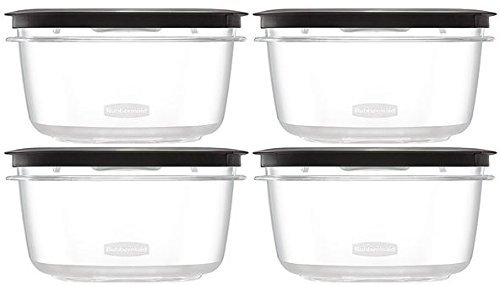 Rubbermaid Premier Food Storage Container, 4 Pack, 5 Cup, Grey (Premier Food Rubbermaid Storage)