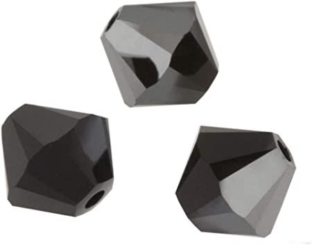 100pcs Preciosa 3mm (0.12 Inch) Small Bicone Crystal Beads Jet Hematite  Compatible with Swarovski Crystals 5301/5328 Pre-B331