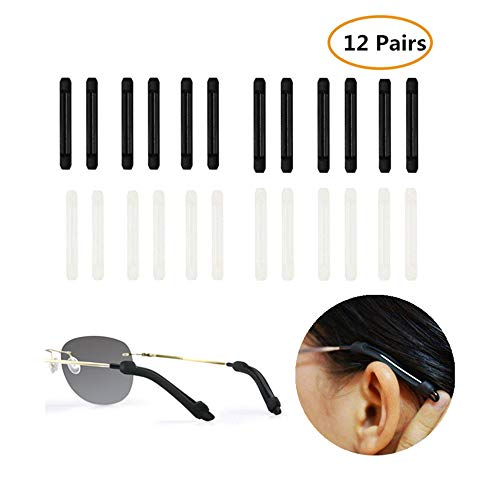 12 Pairs Anti-Slip Soft Silicone Eyeglass Temple Tip Retainer, Comfortable Elastic Holder for Glasses,Sunglasses,Reading ()