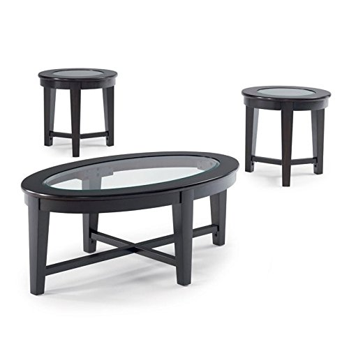 Oval Set Sofa Table - Coaster Contemporary Cappuccino Three Piece Occasional Table Set with Tempered Glass Insert