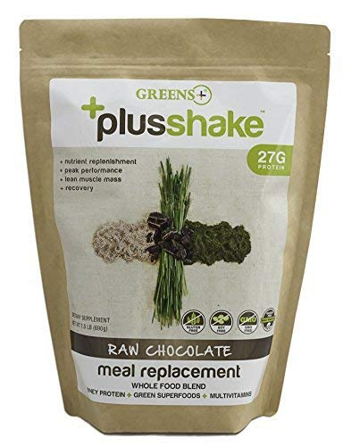 Greens+ PlusShake Raw Chocolate Grass Fed Whey Protein Powder - Meal Replacement | Non-GMO | Gluten & Soy Free | Dietary Supplement | Green Superfood + Multi-Vitamins | 27g Protein | 1.5 lb Bag ()