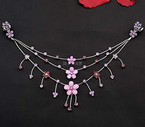 - OLIJU Children's Princess Girls Headwear Amount Chain Frontlet Forehead Heart Necklace Pendant Bridal Hairpin Plate Hair Ornaments Ahead (deep Purple