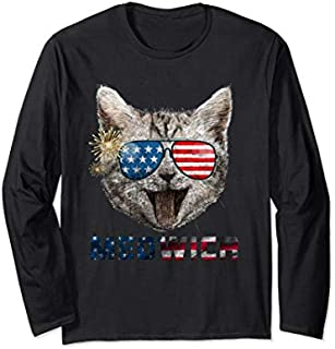 Funny Meowica Merica Cat Sunglasses Flag USA  Amewica Long Sleeve T-shirt | Size S - 5XL