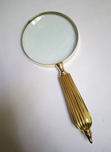 Brass Handheld Magnifier with 4 inch Premium Brass Framed Magnifying Glass With Brass Striped Crafted Handles | Office Ware Decorative Zooming Lens | For Father/Mother/Thanksgiving/Anniversary (Gold) - Handle Decorative Brass