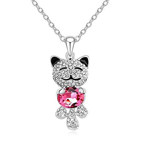 Carfeny Lucky Cat Pendant Necklace for Kids 925 Sterling Silver Chain Necklace for Girls from Swarovski Crystal Elements - Sterling Girls Silver Necklace