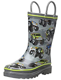 Western Chief Boys Monster Crusher Printed Pull On Rain Boots