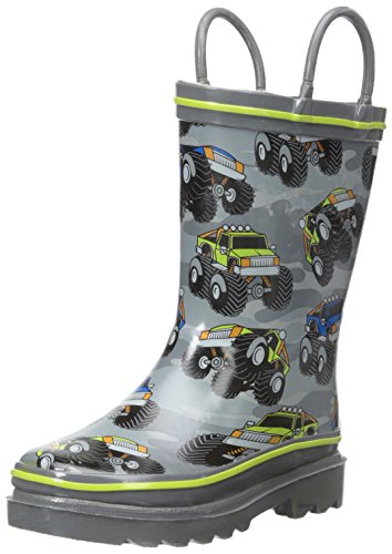Western Chief Boys Waterproof Printed Rain Boot with Easy Pull On Handles, Monster Crusher, 7 M US Toddler