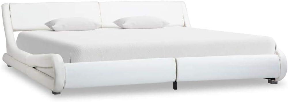 vidaXL Cadre de Lit Blanc Similicuir 180x200 cm Sommier à Lattes Adulte Double