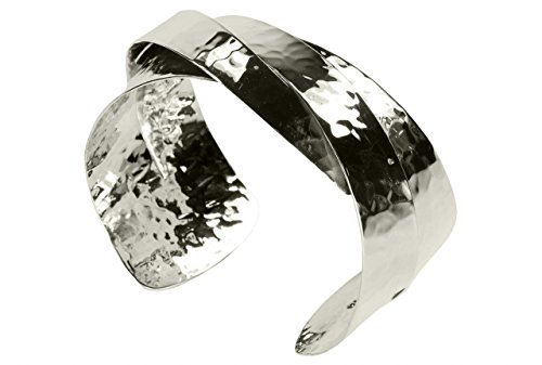 SILBERMOOS Bracelet femme bracelet rigide á chevauchement brillant et martelé argent sterling 925