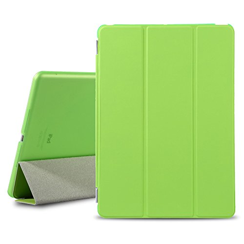 BESDATA Ultra Thin Magnetic Smart Cover [Auto Wake/Sleep Function]& Translucent Back Case for Apple 2013 iPad Air + Screen Protector + Cleaning Cloth + Stylus (Green) (Green Case Screen)