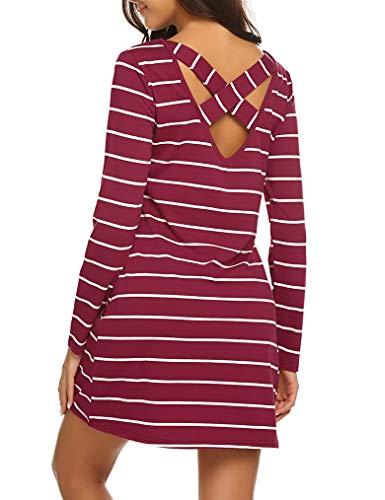 Womens Long Sleeve Striped Pockets Criss Cross Back T-Shirt Tunic Mini Dress L, Wine Red -