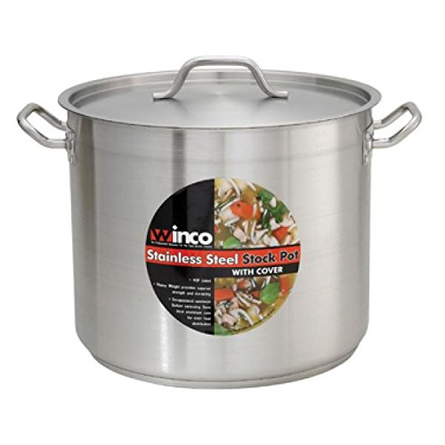 Winco SST-24, 24-Quart 10.25-Inch High 13.4-Inch Diameter Stainless Steel Stock, Pot With Cover, Tri-ply Heavy-Duty Bottom for Efficient Heat Distribution by Winco
