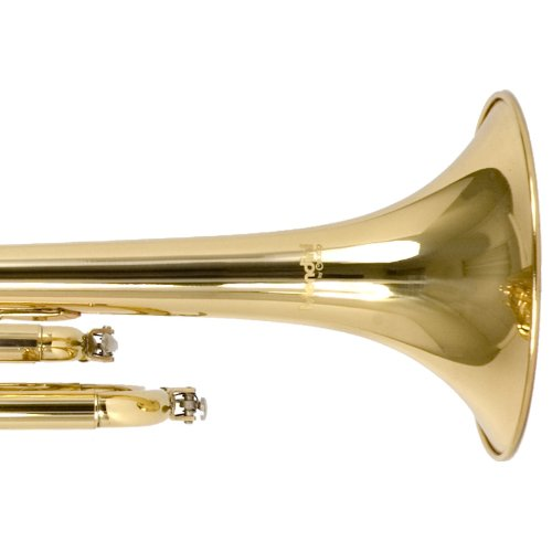 Large Product Image of Mendini MTT-L Gold Lacquer Brass Bb Trumpet + Tuner, Case, Stand, Mouthpiece, Pocketbook & More