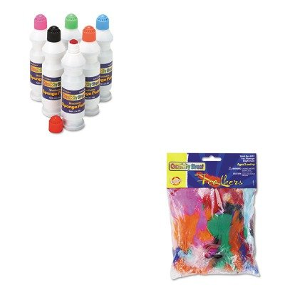 KITCKC2400CKC4502 - Value Kit - Creativity Street Bright Hues Feather Assortment (CKC4502) and Creativity Street Sponge Paint Set (CKC2400)