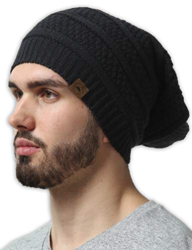 Slouchy Cable Knit Beanie by Tough Headwear - Chunky, Oversized Slouch Beanie Hats for Men & Women - Stay Warm & Stylish - Serious Beanies for Serious Style Black OSFA
