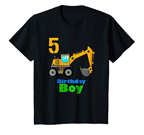 Kids 5th Birthday Excavator Shirt | 5 Toddler Boy Dig Tee (5th Birthday Toddler T-shirt)