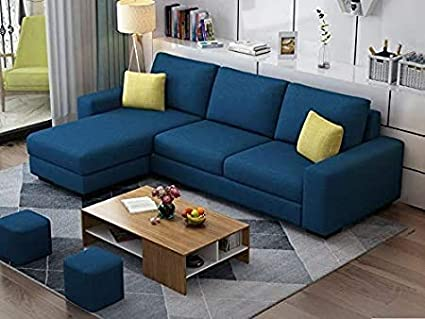 Casaliving Rolando L Shape Modern 4 Seater Fabric Sofa Set For Living Room Navy Blue Amazon In Home Kitchen