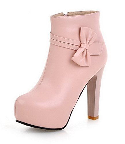 VogueZone009 Damen Rein PU Hoher Absatz Rund Zehe Reißverschluss Stiefel Pink