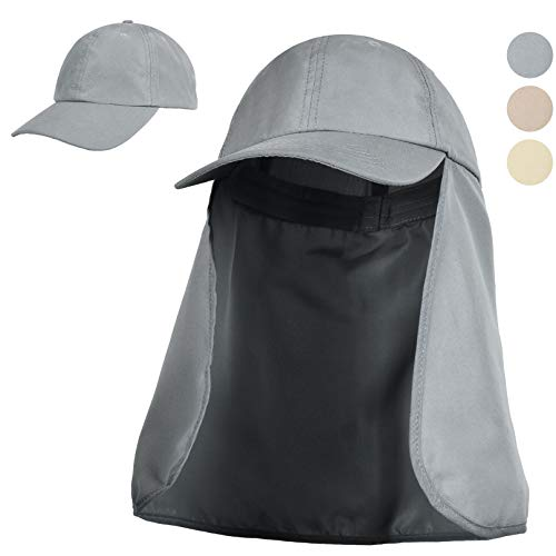 (Tirrinia Outdoor Sun Protection Fishing Cap with Neck Flap for Baseball Backpacking Cycling Hiking Garden Hunting Camping Grey)