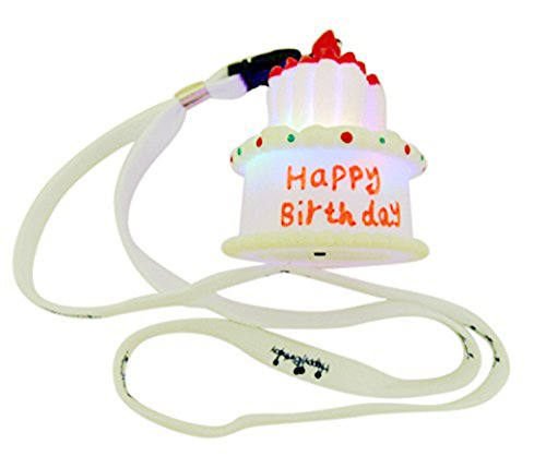 GW Imports Birthday Cake Charm Flashing Light Up Necklace LED Party Wear, 15 (Cupcake Charm Necklace)