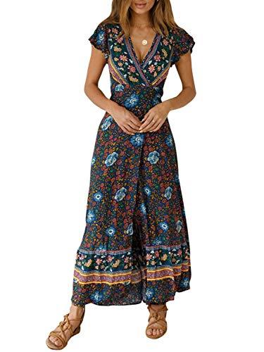 Boho Short Sleeve Floral Beach Dress V Neck Ruffle Split Party Dress Navy Blue-Long-S ()