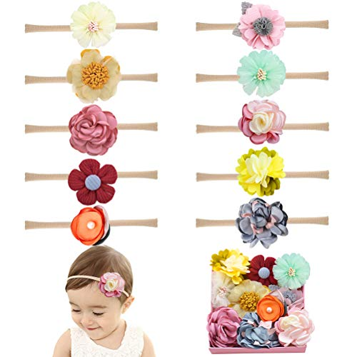 Baby Girl Headbands Bows flowers,10 Pack Hair Accessories for Newborn Infant Toddler Girls Gift -