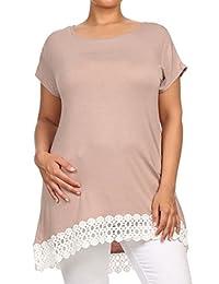2LUV Women'sShort Sleeve Hi-Low Tunic Top