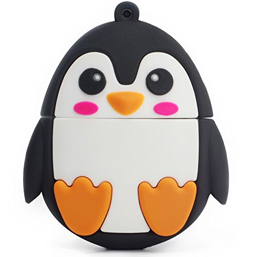 leizhan Character Flash Drive 16GB Pen Drive with Chain Penguin Memory Stick