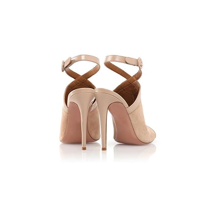 Donna Sexy Alto Tacco Sandali Stiletto Scarpe Scamosciato Sbirciare Dito Del Piede Caviglia Cinghie Fibbia Albicocca Estate Festa Vestito Discoteca