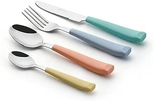 Exzact WF232W Juego de Cubiertos de 24 PCS - Acero Inoxidable con Mangos Anchos de plástico de Color Vibrante - 6 x Tenedores, 6 x Cuchillos, 6 x ...