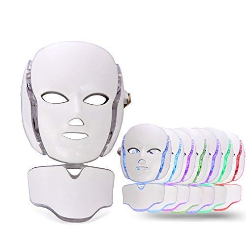 7 Colors LED Light Facial Mask Photorejuvenation Spectrum Anti Acne Therapy Skin Tighten Instrument With Neck Mask Set Face Car ()