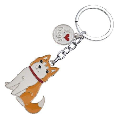 Cute Pet Dog Keychain Alloy Enamel Corgi Husky Poodle Keyring Love Tag Charm - 3d Charm Enamel Dog