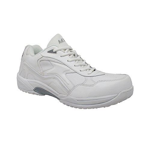 - ADTEC Men's White Lace Work Shoe - Slip Resistant, Breathable, Comfortable + Affordable, Memory Foam Insole, White, 9 W US