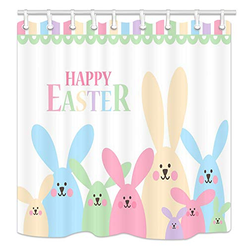 NYMB Easter Wallpaper Shower Curtains, Cartoon Bunny Rabbits with Ears Bath Curtain Art Print,Fabric Waterproof Shower Curtain, Bathroom Accessory Sets, Hooks Included, 70X70in (Rabbit)