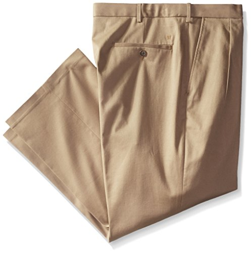 Haggar Men's Big-Tall Premium No Iron Classic Fit Pleat Front Pant, British Khaki, 46x32