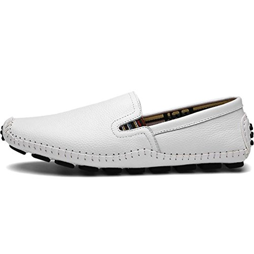 Ceyue Mens Driving Shoes Hand-made Casual Leather Loafers(White,47)