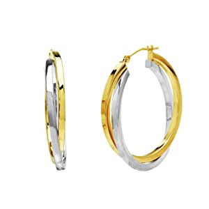 14k Gold-Bonded Sterling Silver Two-Tone Crossover Hoop Earrings