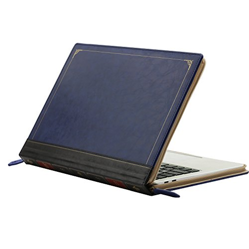 MOSISO PU Leather Sleeve Compatible 2018 MacBook Air 13 A1932 Retina / 2019 2018 2017 2016 MacBook Pro 13 A1989/A1706/A1708, Vintage Classic Zippered Case Premium Book Cover, Royal Blue