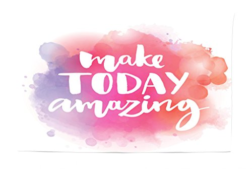 Lunarable Tapestry, Make Today Amazing Inspirational Colorful Watercolor Splash Background, Fabric Wall Hanging Decor for Bedroom Living Room Dorm, 45 W X 30 L inches, Lavander Pink ()